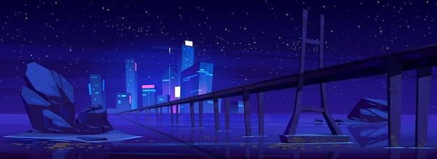 Toits De La Ville Avec Bâtiments Et Pont Au-dessus Du Lac Ou De La Rivière La Nuit. Vecteur gratuit