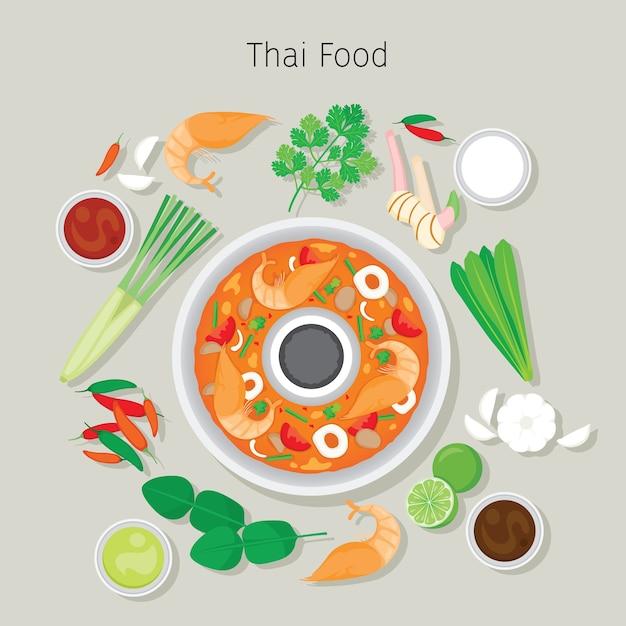 Tom Yum Kung Et Ingrédients, Soupe Thaïlandaise Vecteur Premium