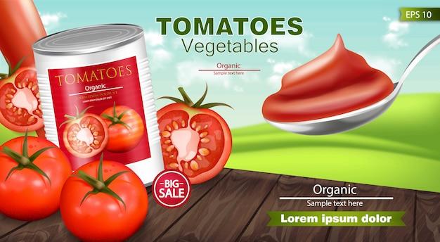Tomates en conserve maquette réaliste Vecteur Premium