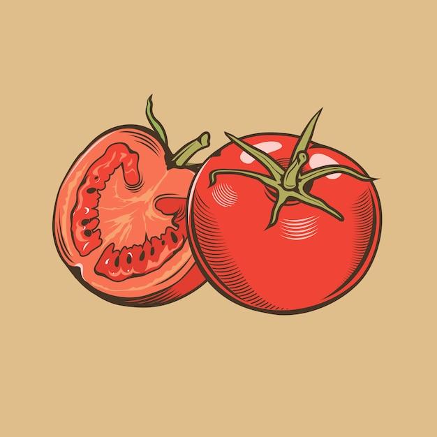 Tomates Dans Un Style Vintage. Illustration Vectorielle Colorée Vecteur Premium