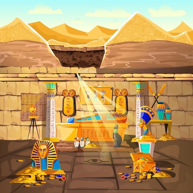 Tombeau perdu du pharaon égyptien Vecteur gratuit