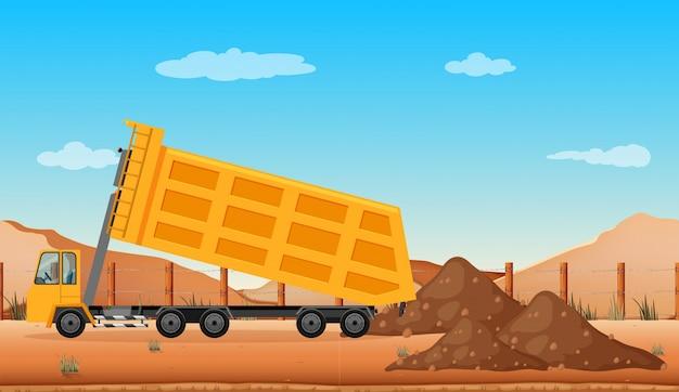 Tomber un camion sur le chantier Vecteur Premium
