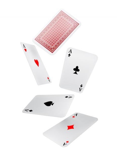 Tomber des cartes à jouer. Loisir, jeu, jeu. Concept de chance. Vecteur gratuit