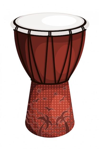 Tomtom drum style tribal brun Vecteur Premium