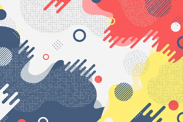 Ton abstrait business coloré de décoration de formes de couleur minimale. Vecteur Premium