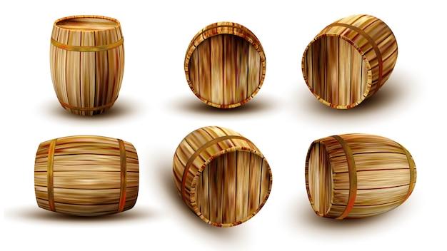 Tonneau en bois vintage dans un côté différent Vecteur Premium
