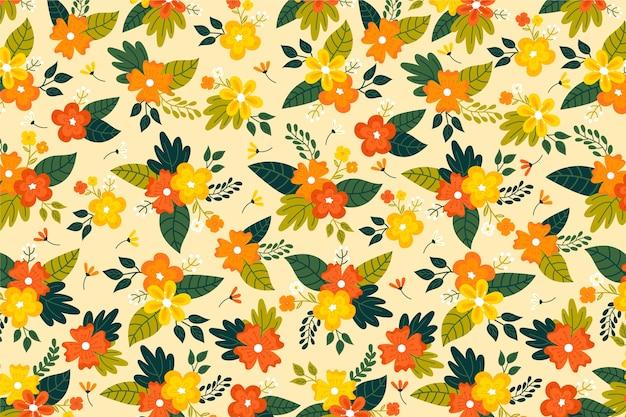 Tons Dorés De Fond Imprimé Floral Ditsy Vecteur gratuit