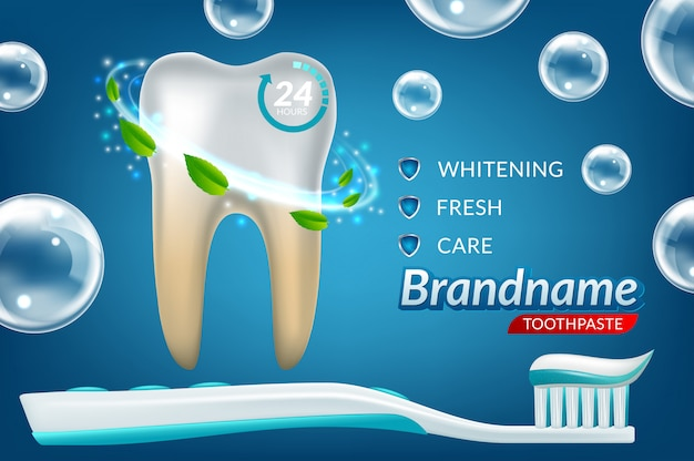 Toothwhitening annonces de dentifrice Vecteur Premium