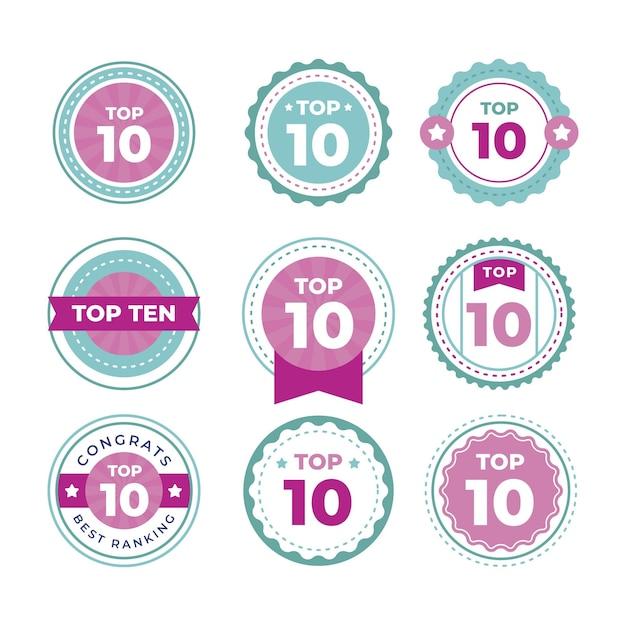 Top Dix Des Collections D'étiquettes Vecteur gratuit