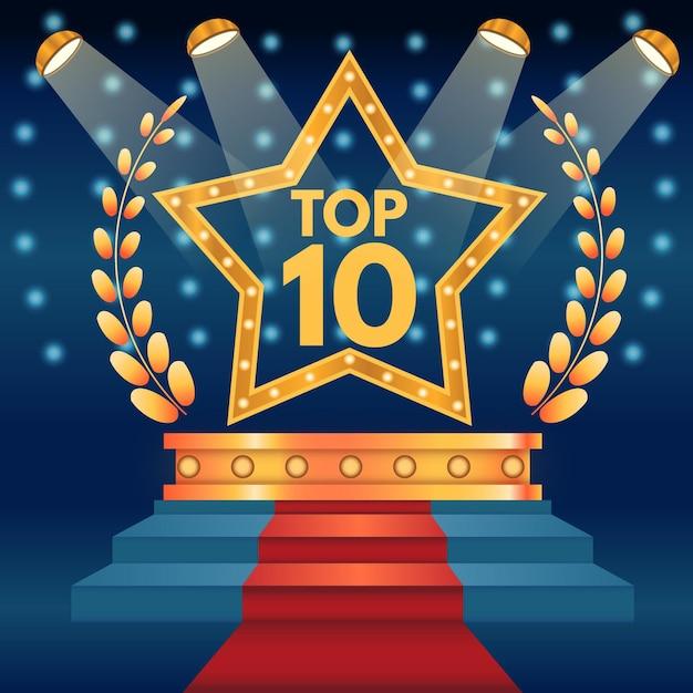 Top Dix Du Meilleur Podium Avec étoile Vecteur gratuit