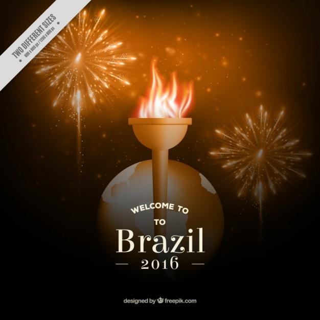 Torche olympique avec firworks fond Vecteur gratuit
