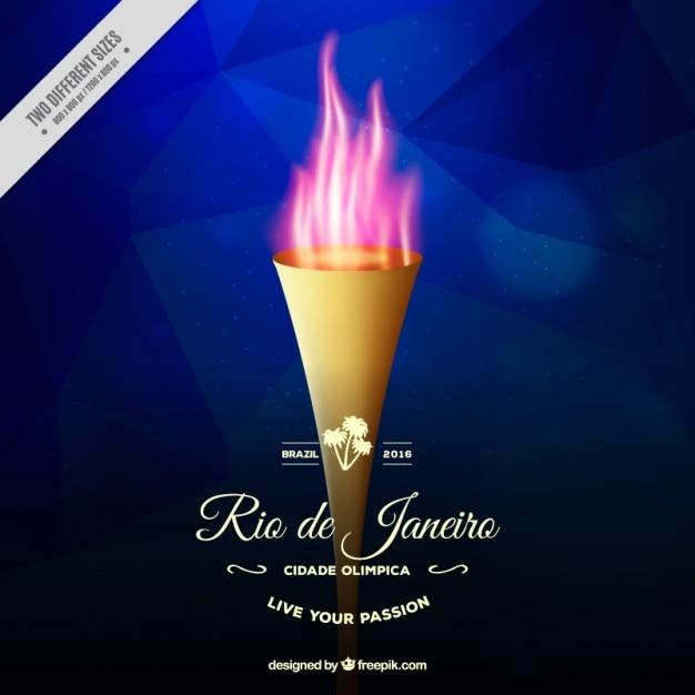 Torche réaliste avec un fond de flammes des jeux olympiques Vecteur gratuit