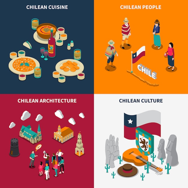 Toristic chili 4 isometric icons set Vecteur gratuit