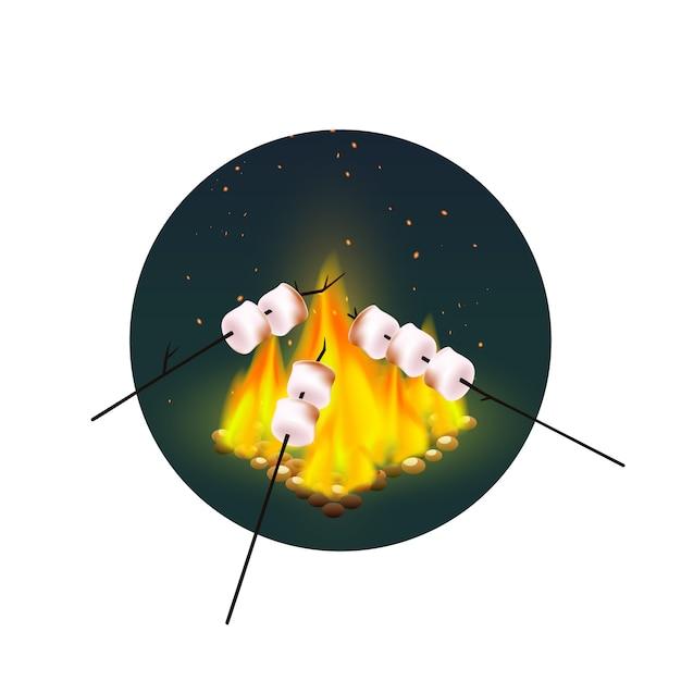 Torréfaction de guimauves sur feu de joie Vecteur gratuit