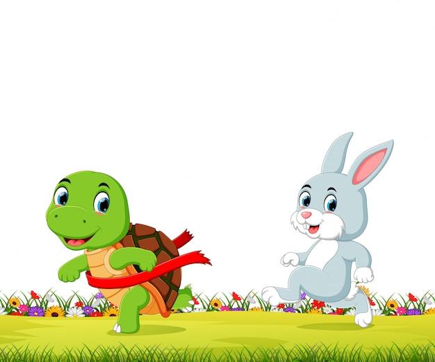 Une tortue gagne la course contre un lapin Vecteur Premium