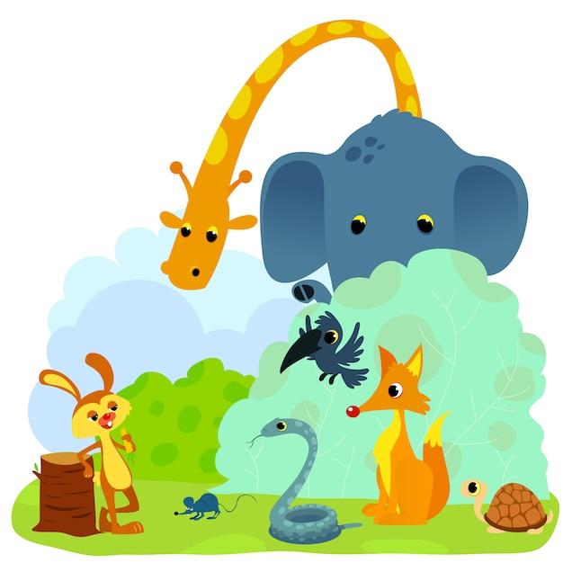 Tortue et le lièvre ou tortue et l'illustration vectorielle fable lapin. lapin défiant les animaux. Vecteur Premium