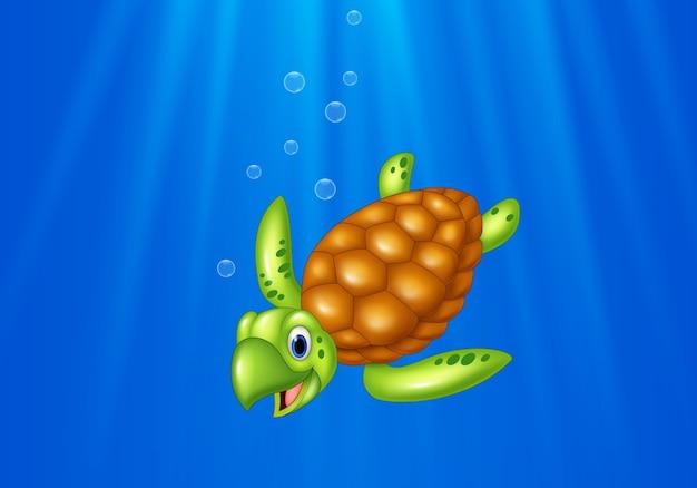 Tortue de mer de dessin animé nageant dans l'océan Vecteur Premium