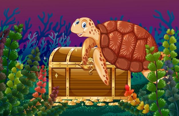Tortue nageant sous la mer Vecteur gratuit