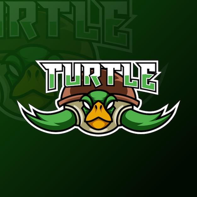 Tortue verte ninja mascotte jeu logo design tempate pour équipe Vecteur Premium