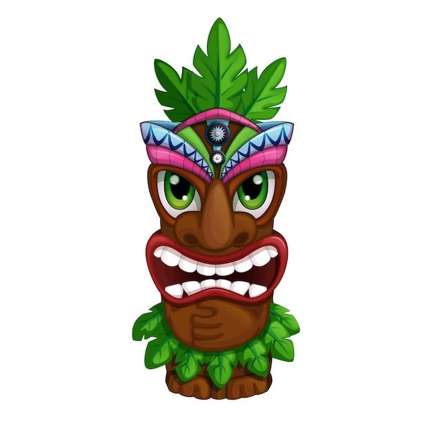 Totem hawaïen en colère. Vecteur Premium