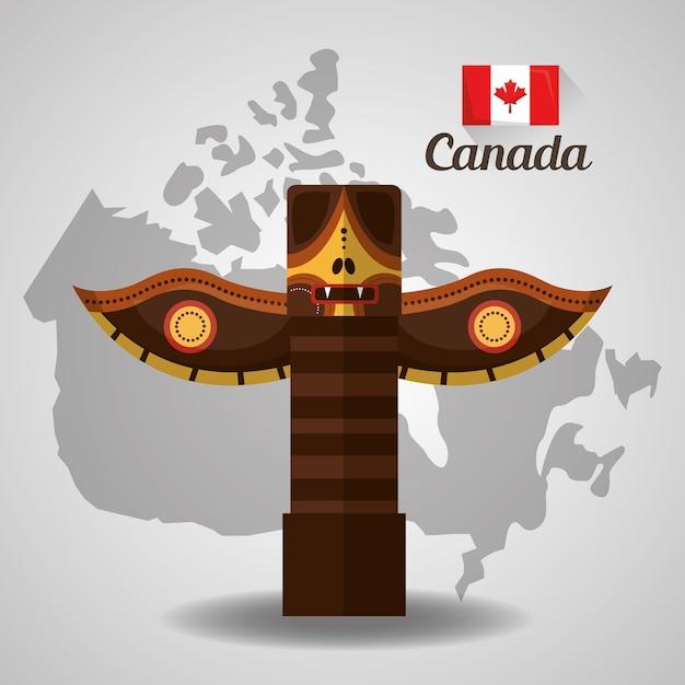 Totem Traditionnel Canadien Sur La Carte Vecteur Premium