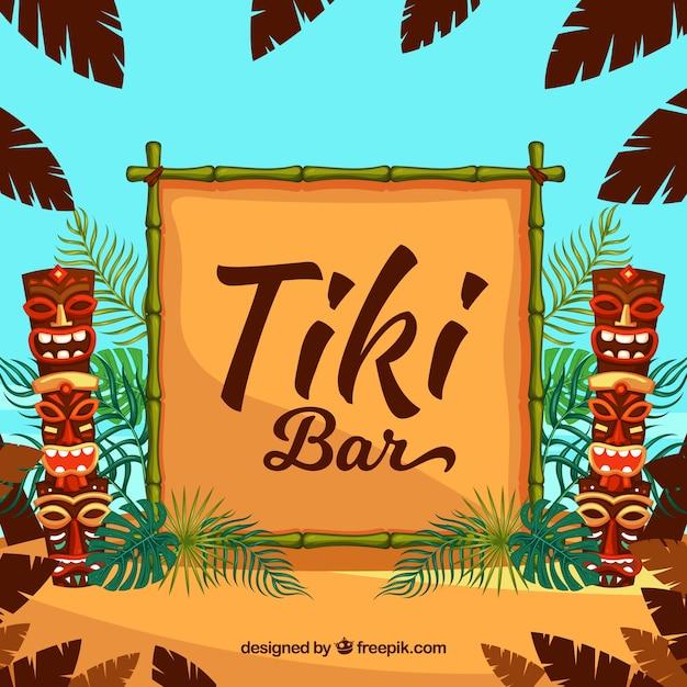Totems tiki, cadre en bambou et feuilles de palmier Vecteur gratuit