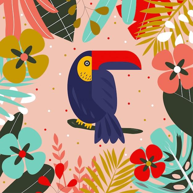Toucan sur une branche entourée de feuilles tropicales Vecteur Premium