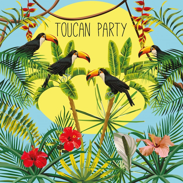 Toucan fête slogan banane palmier fleurs feuilles et soleil ciel Vecteur Premium