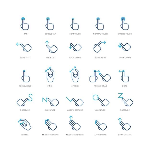 Toucher Les Icônes Vectorielles De Gestes Vecteur Premium