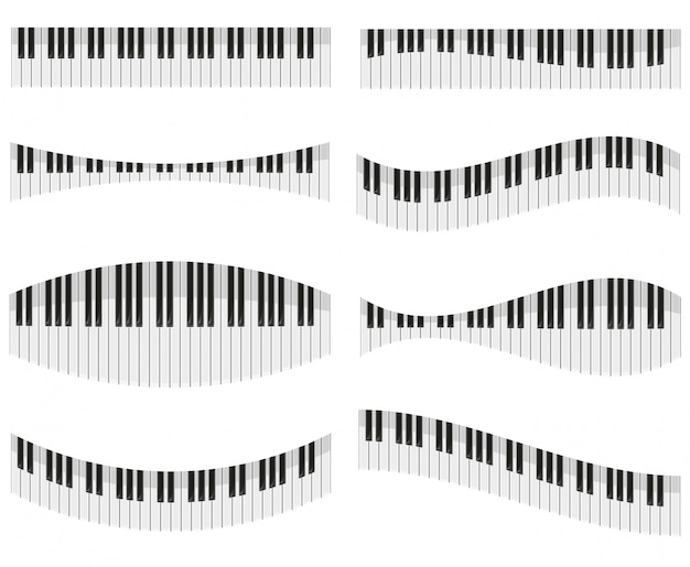 Touches du piano pour différentes formes d'illustration vectorielle de conception Vecteur Premium