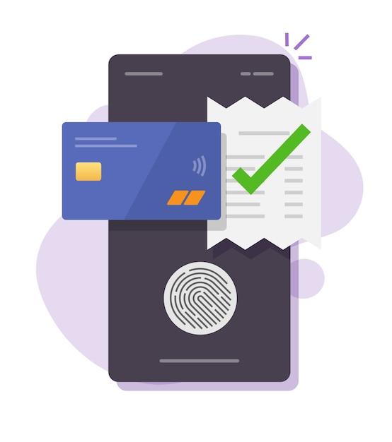 Touchez La Technologie De Facture De Facture De Paiement D'id D'empreinte Digitale Via Le Smartphone De Téléphone Mobile De Carte Bancaire De Crédit Vecteur Premium