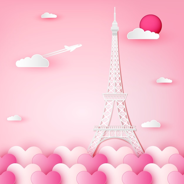 Tour Eiffel, France, Paris, Et, Nuage, Sur, Coeur. Vecteur Premium