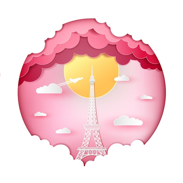 Tour Eiffel France Paris Et Nuage Sur Fond Rose Coeur Vecteur Premium