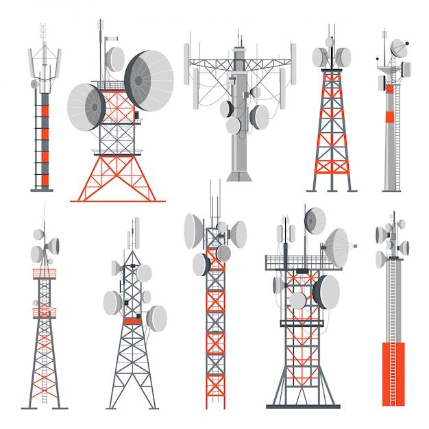 Tour Et Stations Fournissant De L'électricité Ensemble De Bâtiments Vecteur Premium