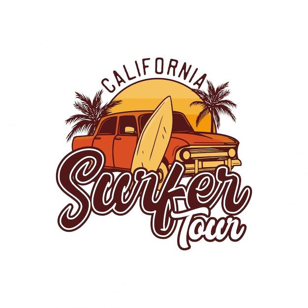 Tour De Surfeur En Californie. Affiche Rétro Design T-shirt Surf Illustration Vecteur Premium