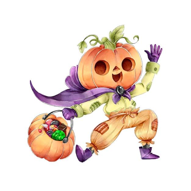 Tour De Tête De Citrouille Ou Traiter Joyeux Halloween Vecteur gratuit