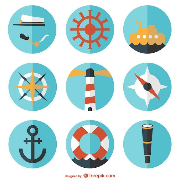 Tour vecteur nautique ensemble plat Vecteur gratuit