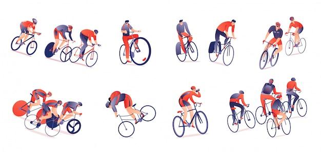 Tour à Vélo Ensemble Horizontal De Cyclistes Avec Des équipements Sportifs Dans Diverses Positions Isolées Vecteur gratuit