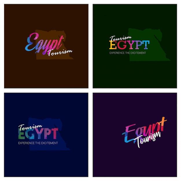 Tourisme egypte typographie logo ensemble de fond Vecteur gratuit