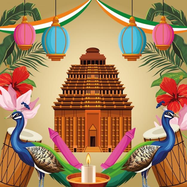 Tourisme monument indien Vecteur Premium