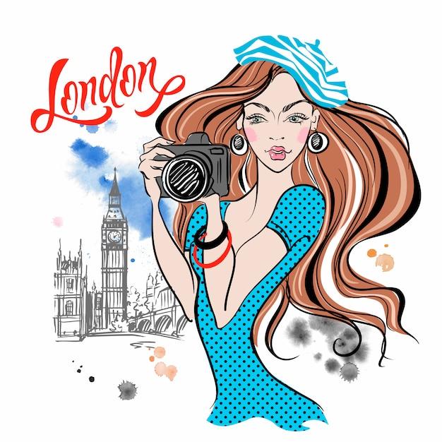 Touriste fille avec une caméra à londres Vecteur Premium