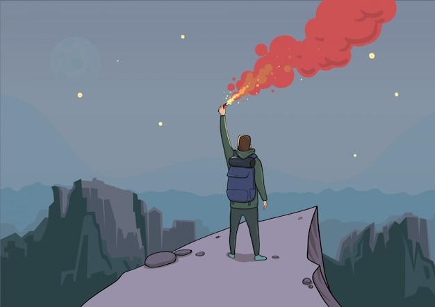 Le Touriste Avec La Fusée éclairante Sur Une Montagne Regarde Du Haut. Vecteur Premium