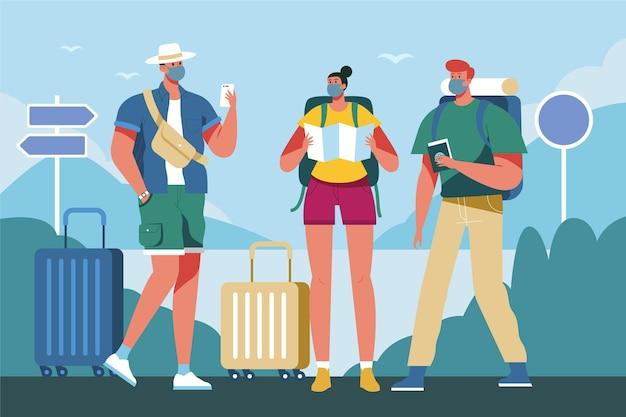 Touriste En Plein Air Portant Des Masques Vecteur gratuit