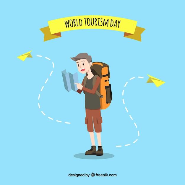 Un touriste à la recherche d'une destination, journée touristique mondiale Vecteur gratuit