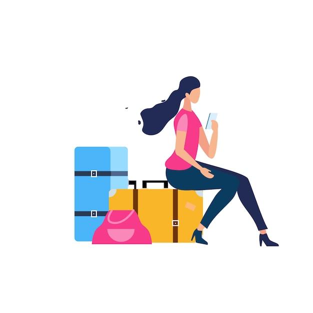 Touriste voyageant avec bagage plat vector concept Vecteur Premium
