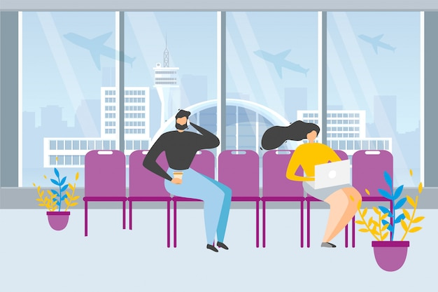 Touristes en attente de vol dans le concept de vecteur aéroport Vecteur Premium