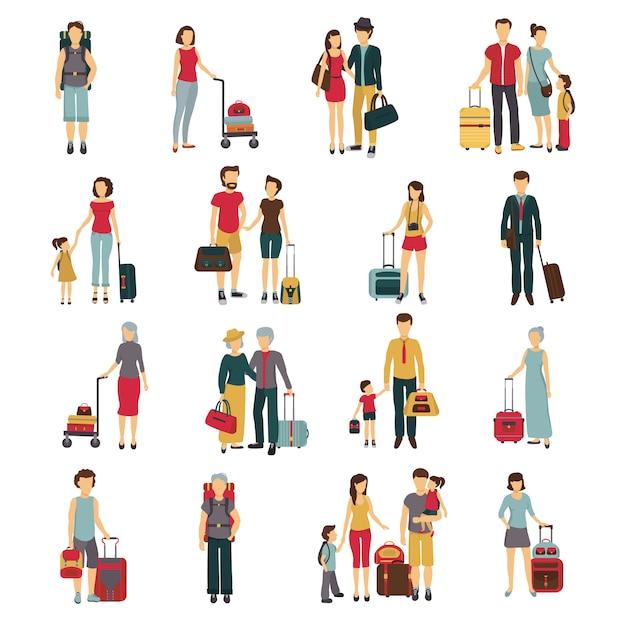 Touristes avec bagages voyageant avec des partenaires Vecteur gratuit