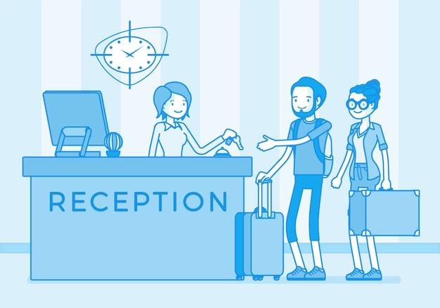 Touristes à La Réception Dans Un Hôtel Vecteur Premium