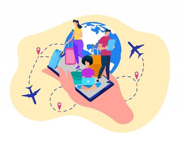 Tourists with gadgets booking tickets vector Vecteur Premium