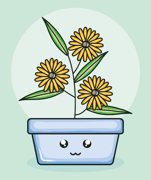 Tournesols de plantes de jardin en pot carré personnage kawaii Vecteur Premium